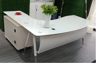 White Executive Glass Table